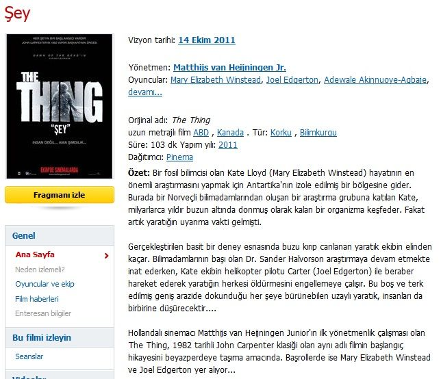 �ey - The Thing - 2011 T�rk�e Dublaj MKV indir
